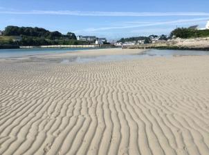 Plage Saint Julien, Plouhinec. Low tide, looking across towards Audierne/Esquibien.