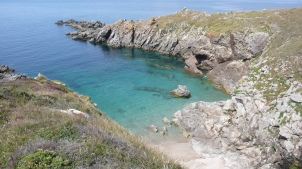 The north coast. Some of the coves need climbing down to reach, but are so beautiful, that the effort is repayed.