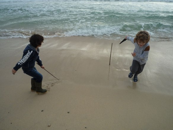 Mesperleuc Plage. Jamming a stick in the sand and escaping before the sea gets you . . .