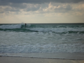 Penhors. Winter surfing. Great fun to watch.