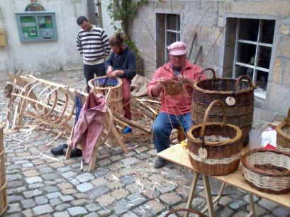 Lobster pots and baskets being made.